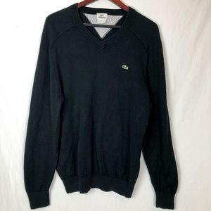Lacoste Size Small France Black V Neck Sweater